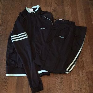 Adidas track suit black and baby blue
